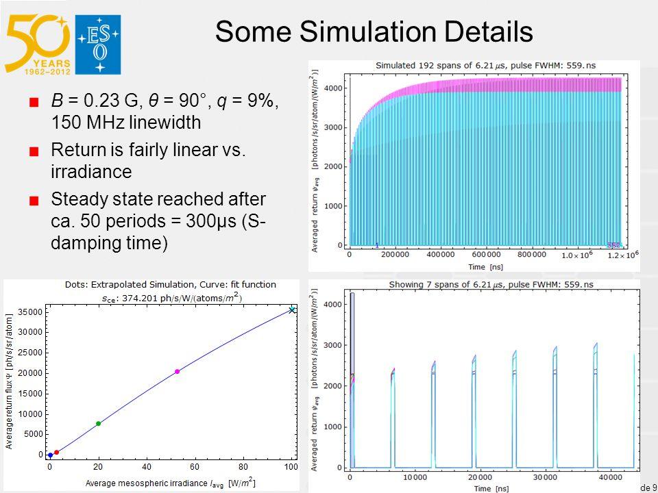 Some Simulation Details