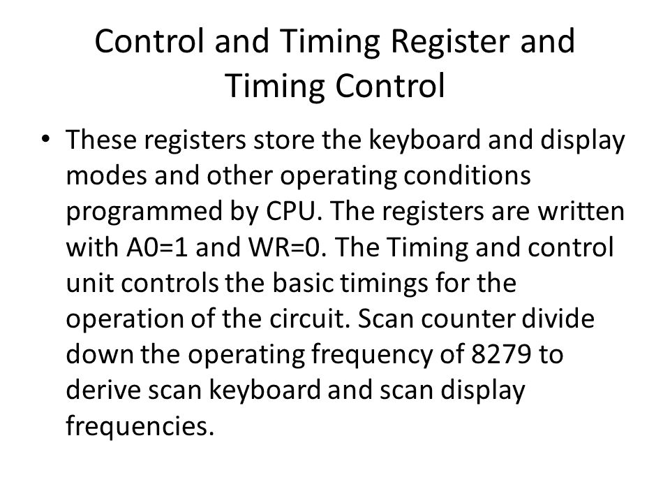 Control and Timing Register and Timing Control