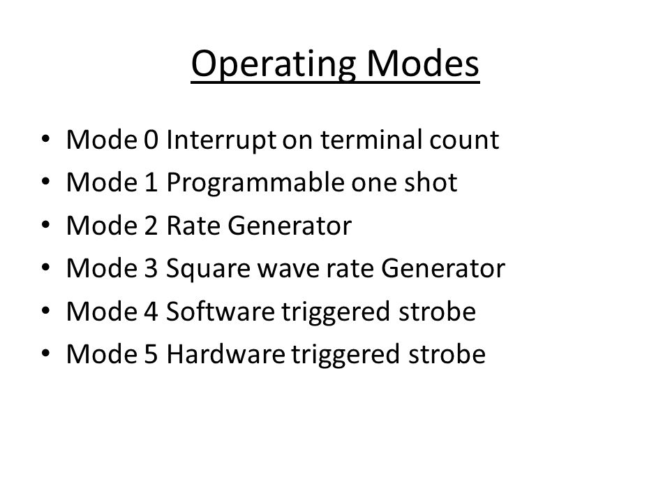 Operating Modes Mode 0 Interrupt on terminal count