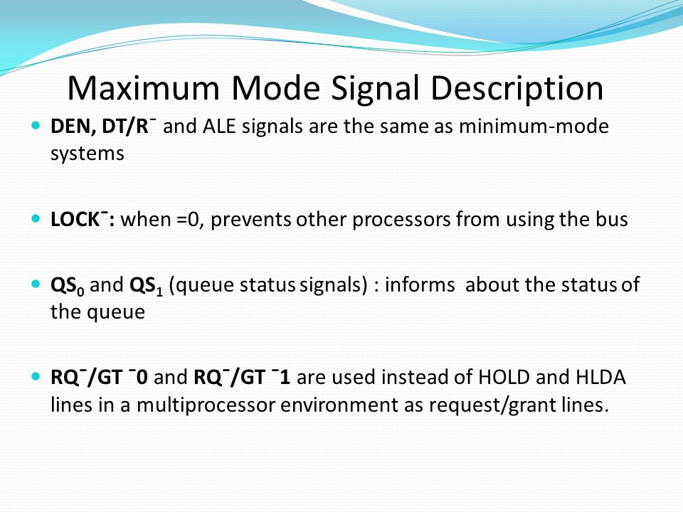 Maximum Mode Signal Description