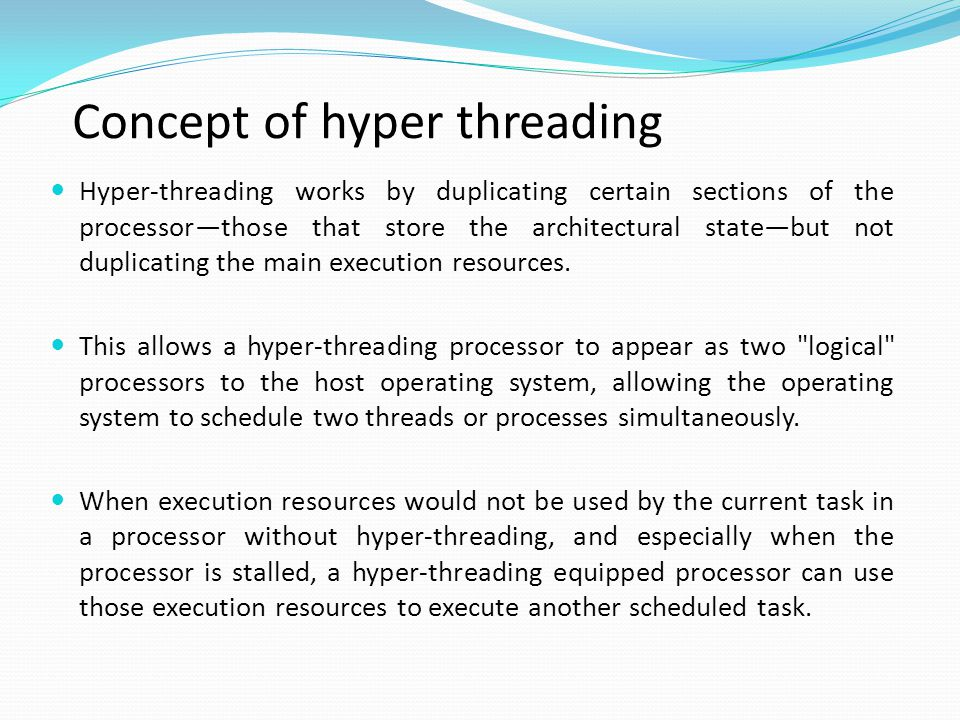Concept of hyper threading