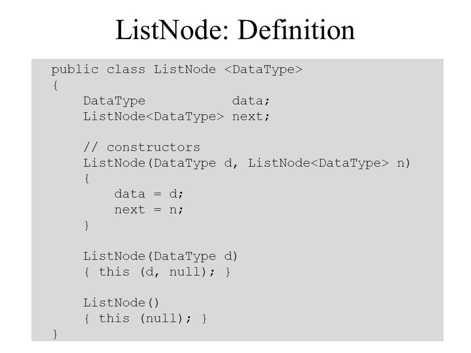 ListNode: Definition public class ListNode <DataType> {