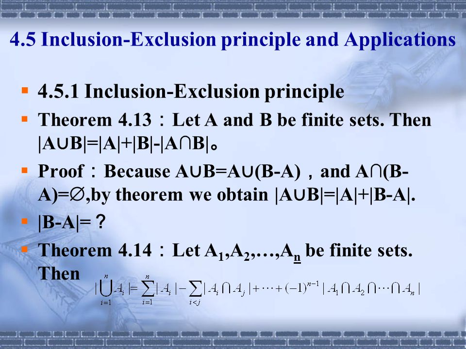 4.5 Inclusion-Exclusion principle and Applications