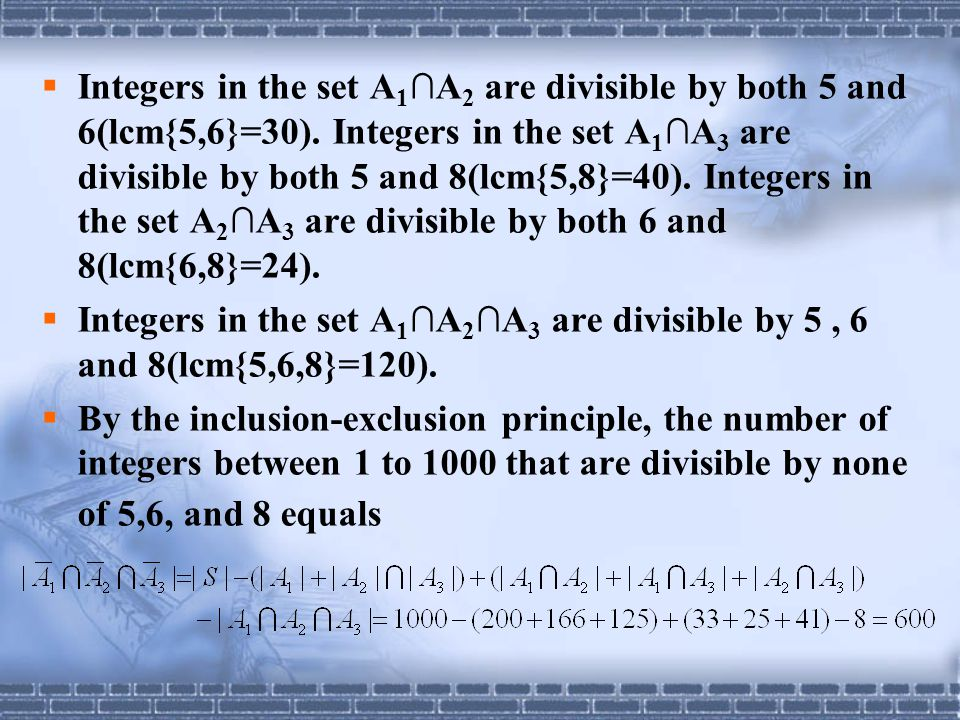 Integers in the set A1∩A2 are divisible by both 5 and 6(lcm{5,6}=30)