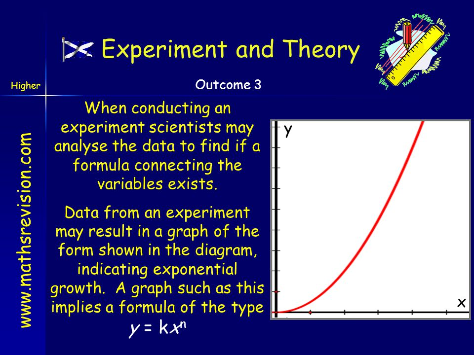 Experiment and Theory When conducting an experiment scientists may analyse the data to find if a formula connecting the variables exists.