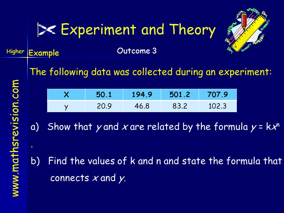 Experiment and Theory Example. The following data was collected during an experiment: X. 50.1. 194.9.