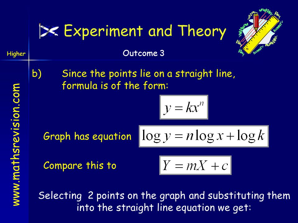Experiment and Theory b) Since the points lie on a straight line, formula is of the form: