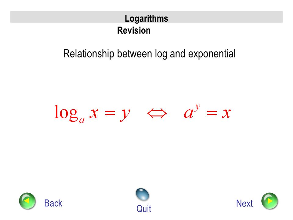 Relationship between log and exponential