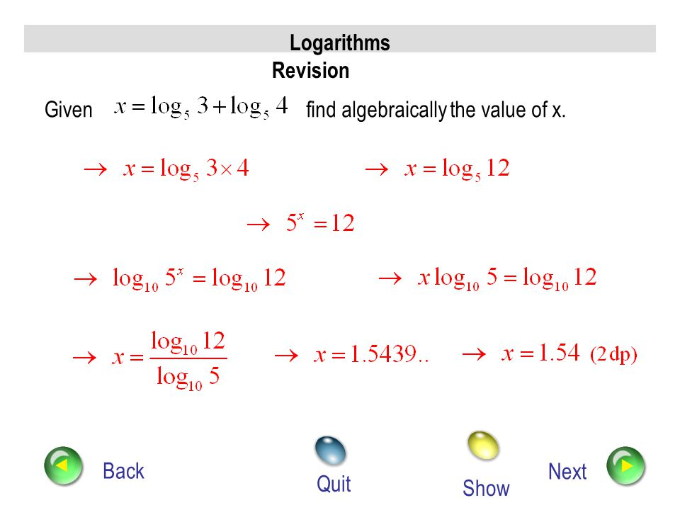 find algebraically the value of x.