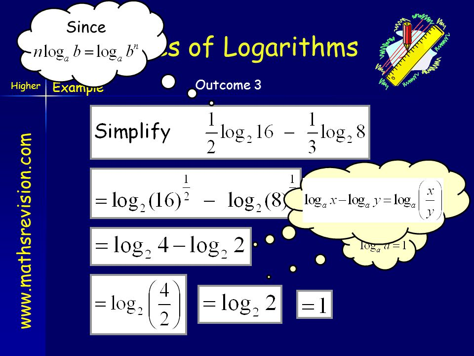 Since Rules of Logarithms Example Since