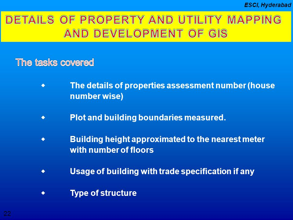 DETAILS OF PROPERTY AND UTILITY MAPPING