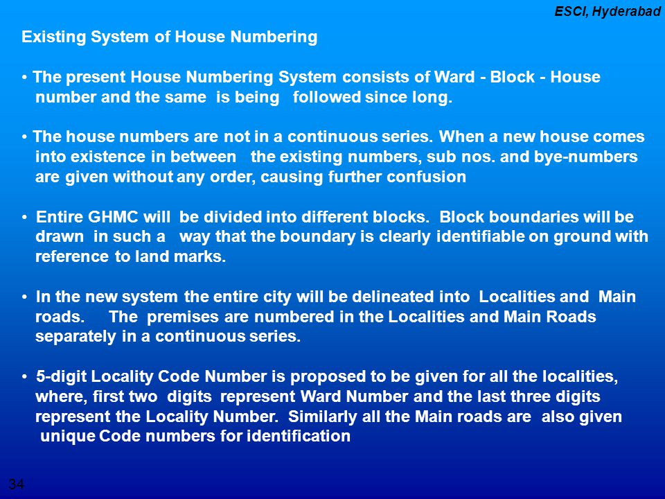 Existing System of House Numbering