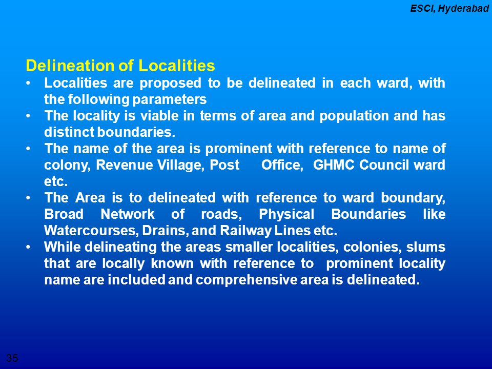 Delineation of Localities