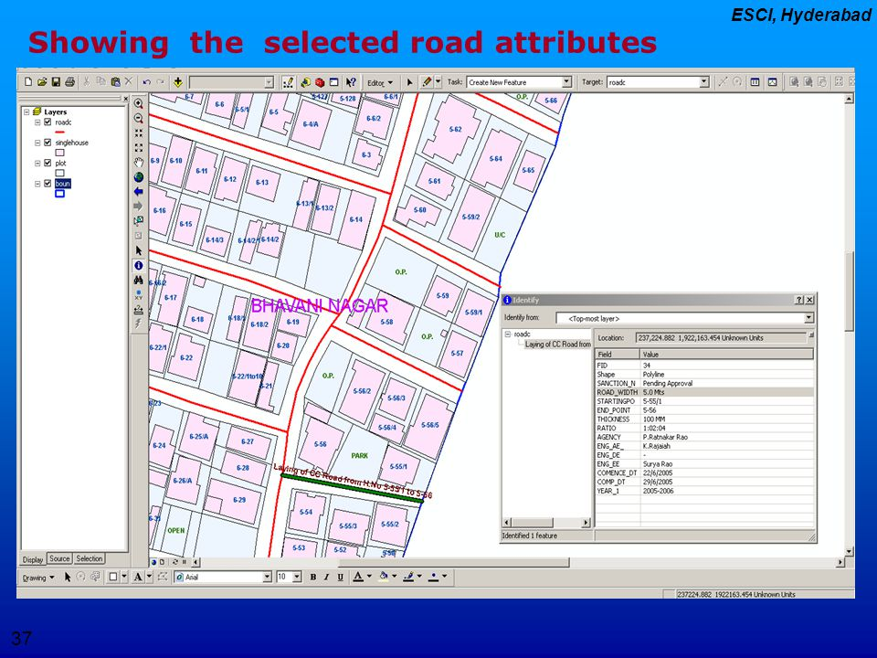 Showing the selected road attributes