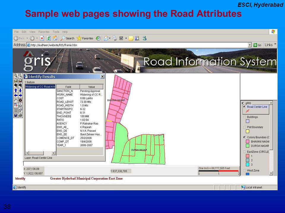 Sample web pages showing the Road Attributes