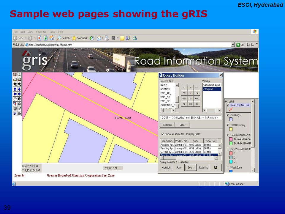 Sample web pages showing the gRIS
