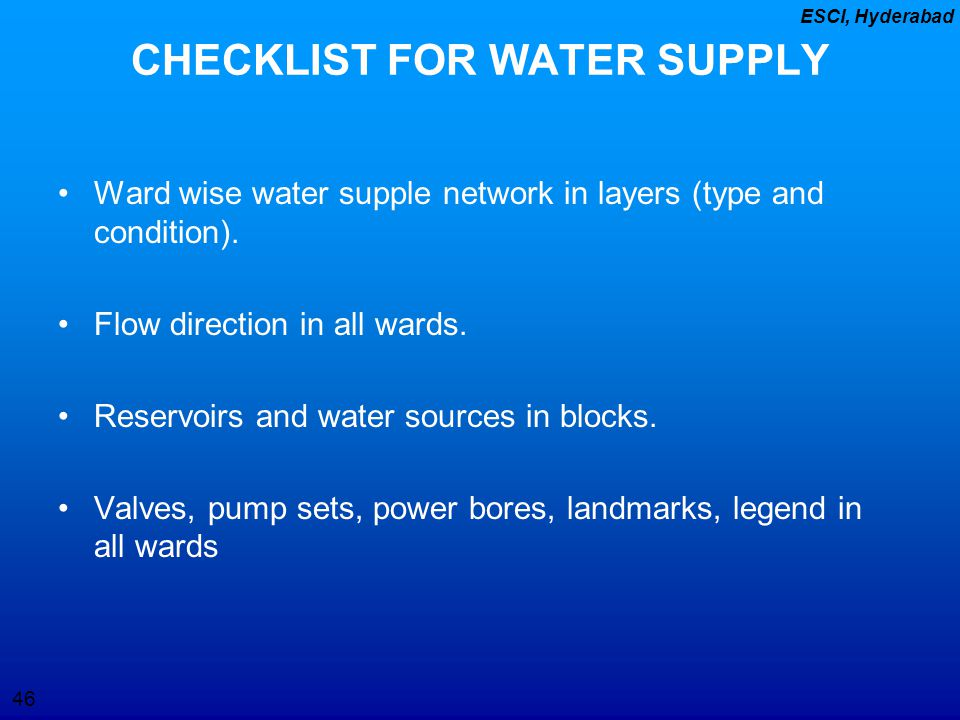 CHECKLIST FOR WATER SUPPLY