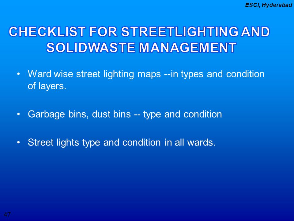 CHECKLIST FOR STREETLIGHTING AND SOLIDWASTE MANAGEMENT