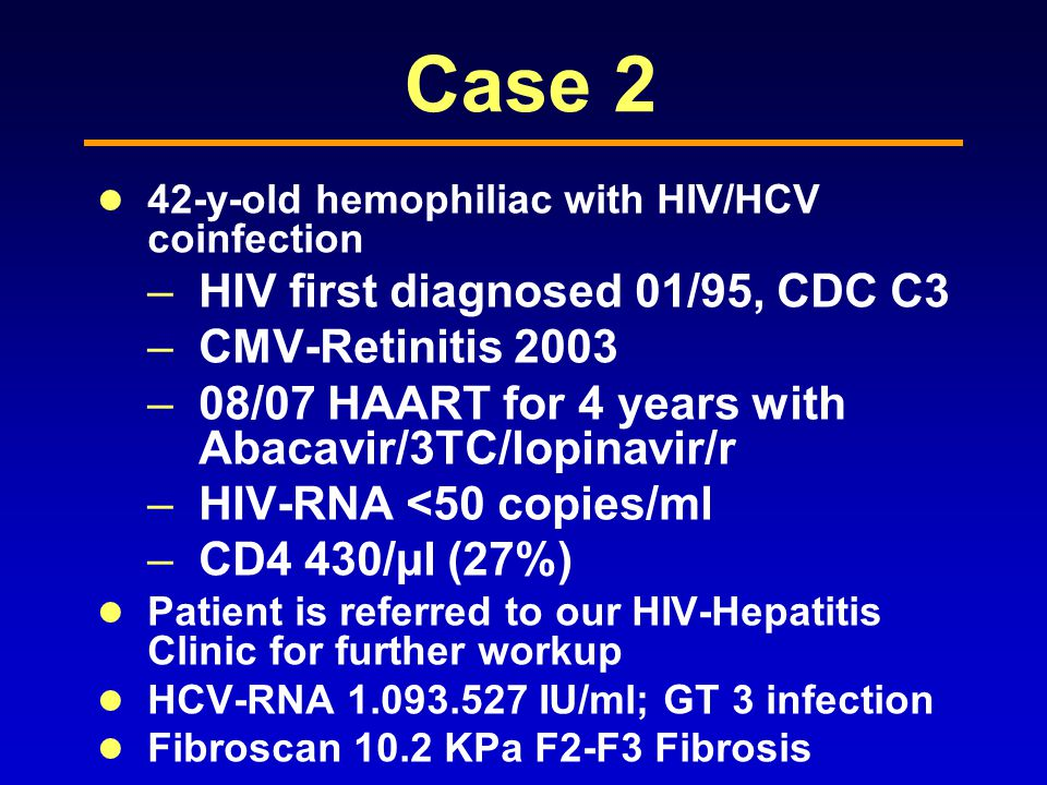 Case 2 HIV first diagnosed 01/95, CDC C3 CMV-Retinitis 2003