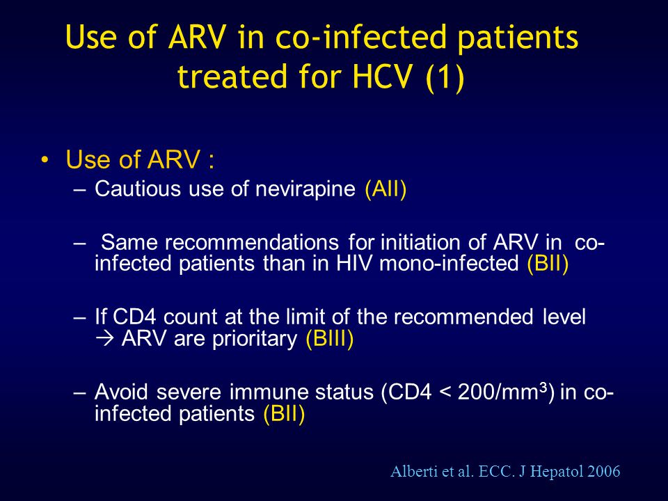 Use of ARV in co-infected patients treated for HCV (1)