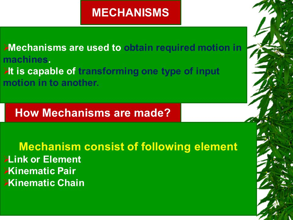 How Mechanisms are made Mechanism consist of following element