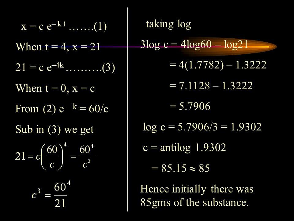 taking log 3log c = 4log60 – log21. = 4(1.7782) – 1.3222. = 7.1128 – 1.3222. = 5.7906. log c = 5.7906/3 = 1.9302.