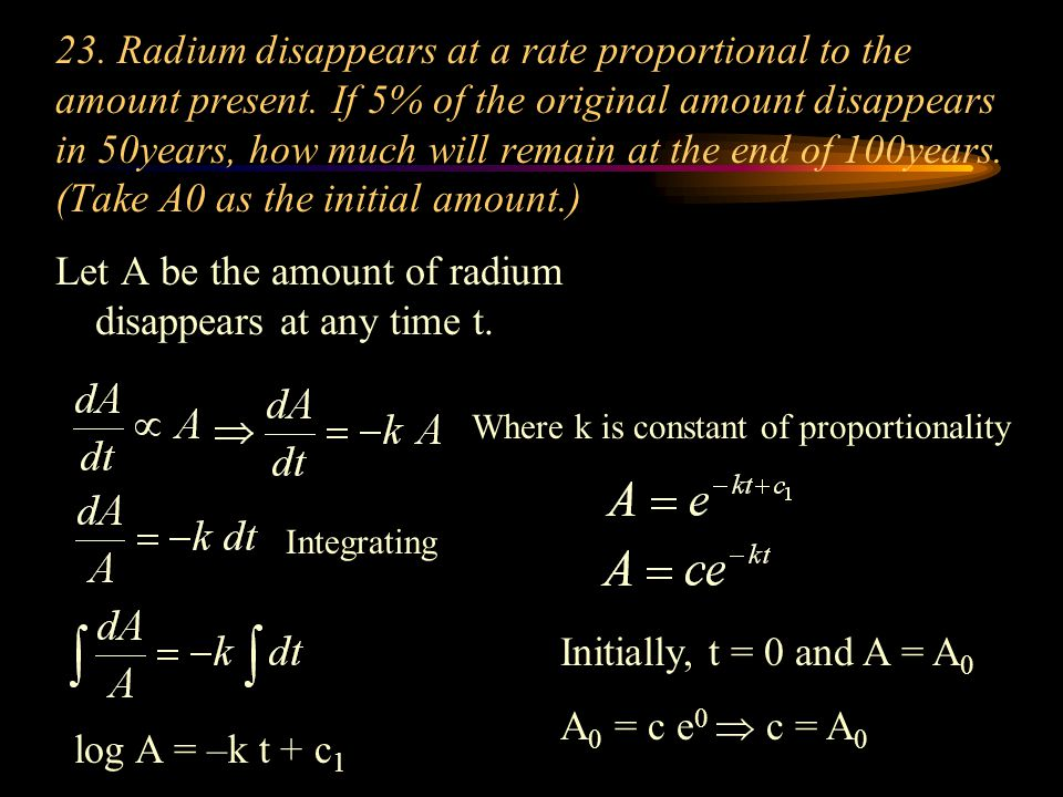Let A be the amount of radium disappears at any time t.
