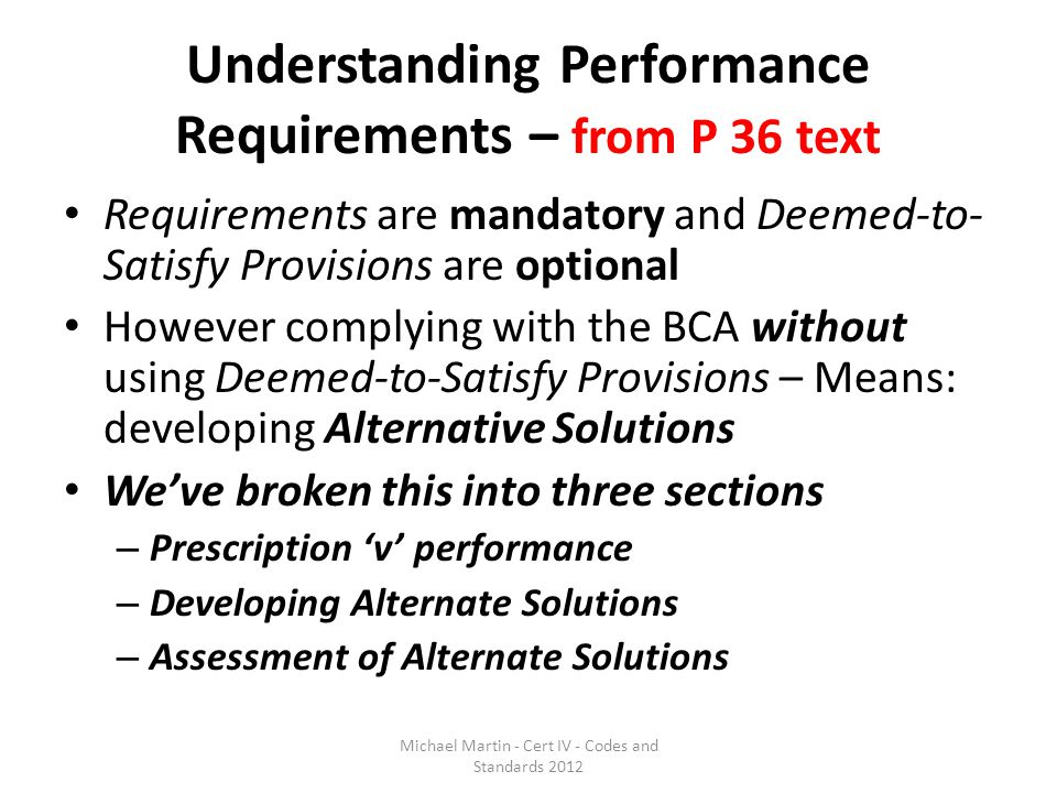 Understanding Performance Requirements – from P 36 text