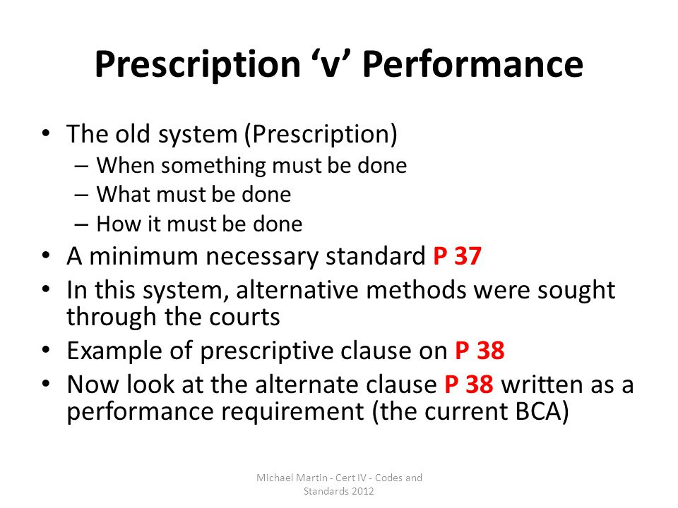 Prescription 'v' Performance