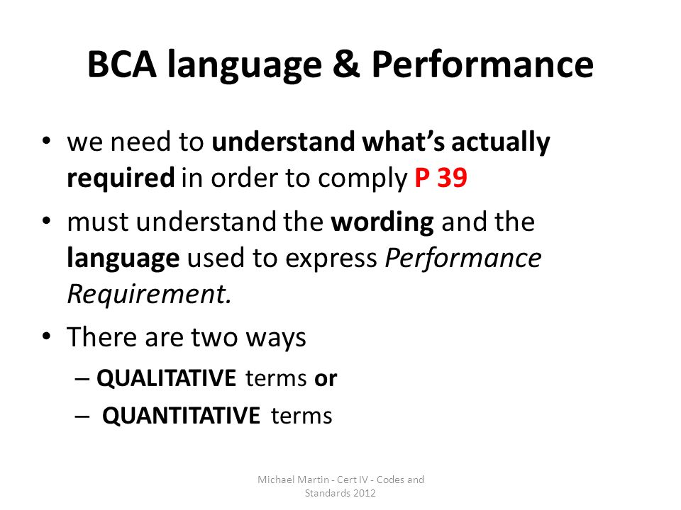 BCA language & Performance