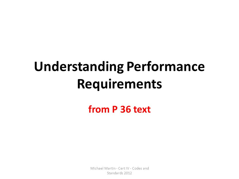 Understanding Performance Requirements