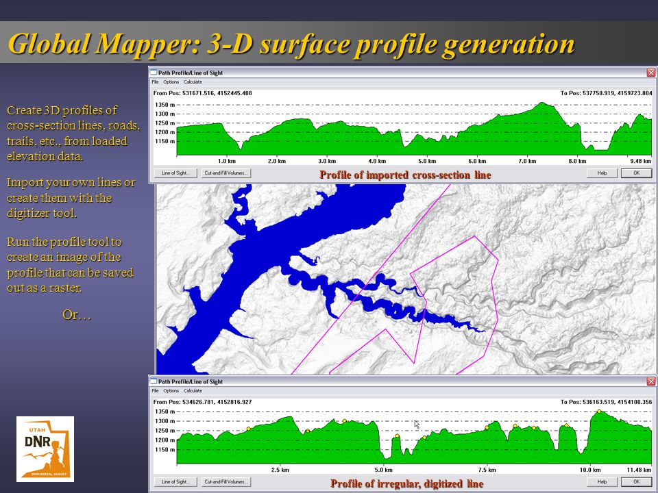 Global Mapper: 3-D surface profile generation