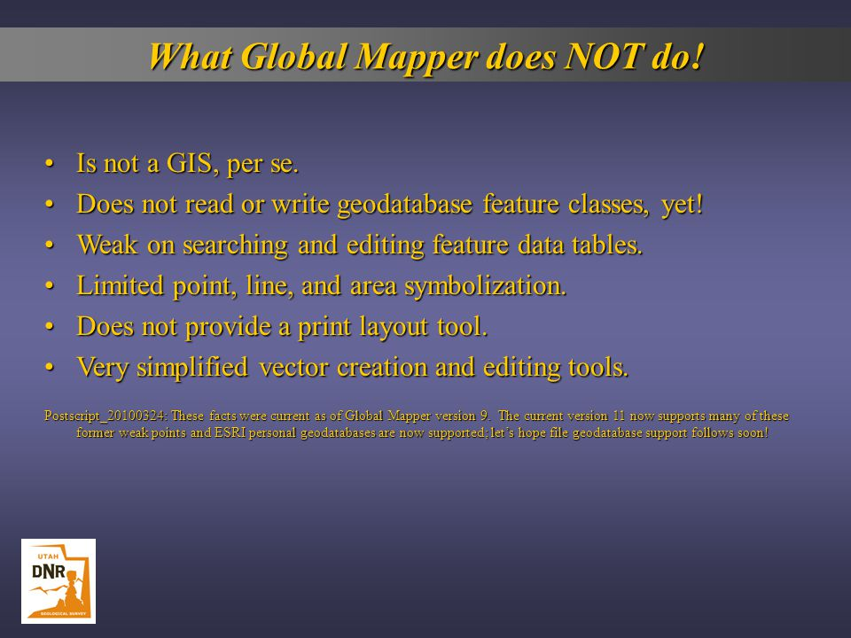 What Global Mapper does NOT do!
