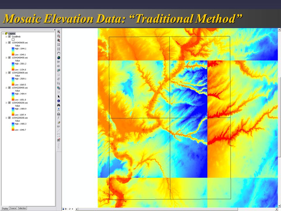 Mosaic Elevation Data: Traditional Method