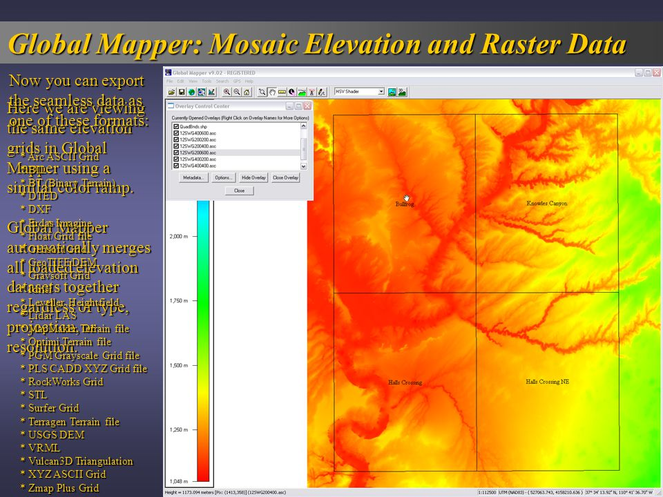 Global Mapper: Mosaic Elevation and Raster Data