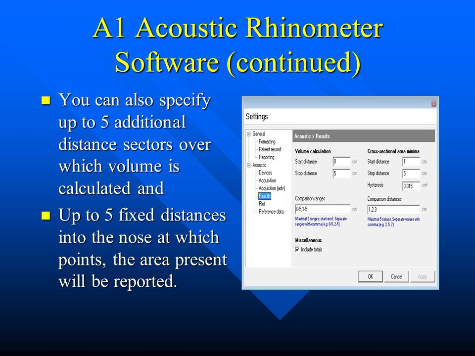 A1 Acoustic Rhinometer Software (continued)