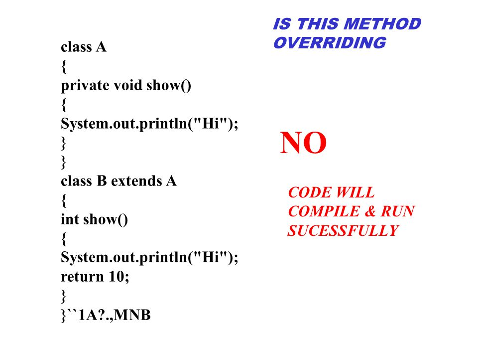 NO IS THIS METHOD OVERRIDING class A { private void show()