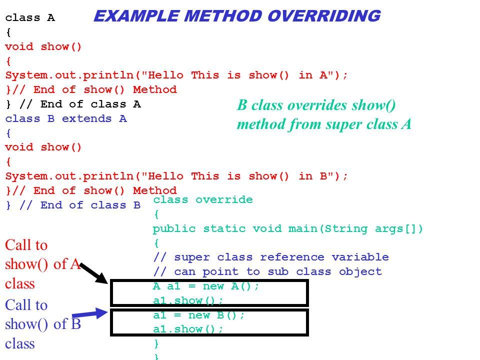 EXAMPLE METHOD OVERRIDING
