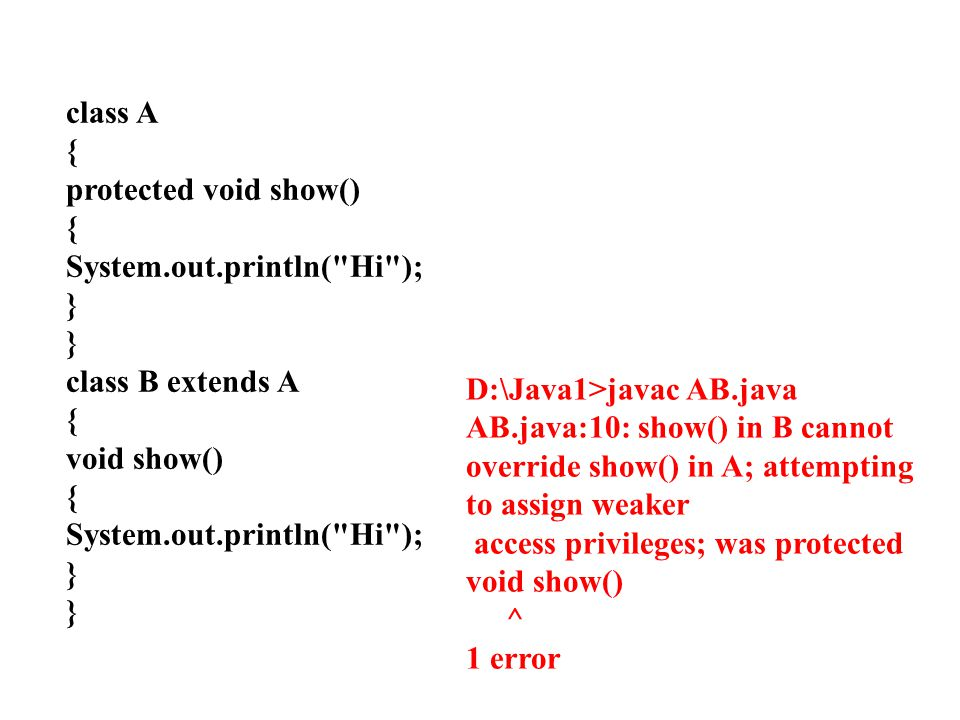 class A { protected void show() System.out.println( Hi ); } class B extends A. void show() D:\Java1>javac AB.java.