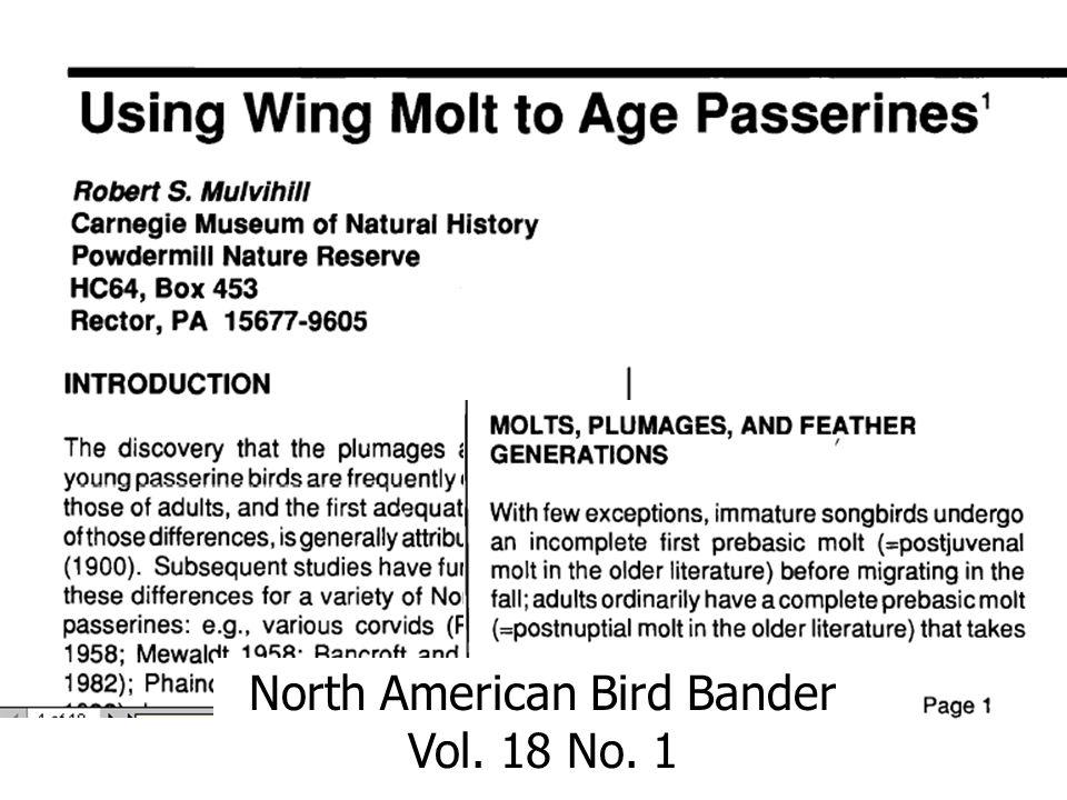 North American Bird Bander Vol. 18 No. 1