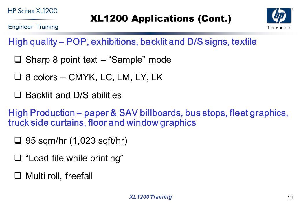 XL1200 Applications (Cont.)