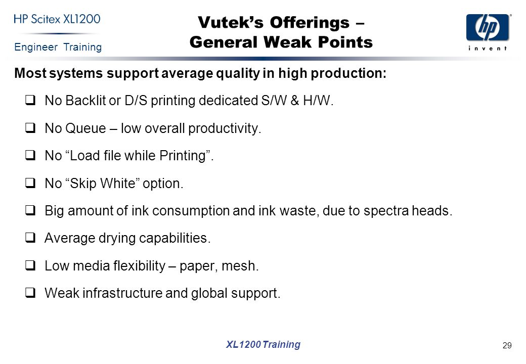 Vutek's Offerings – General Weak Points