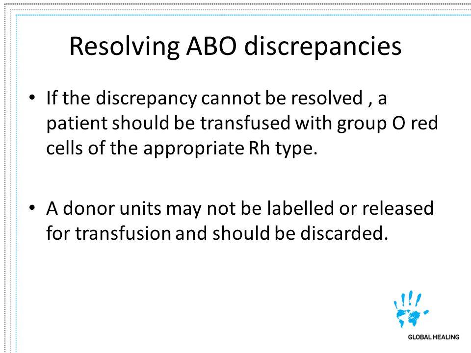 Resolving ABO discrepancies