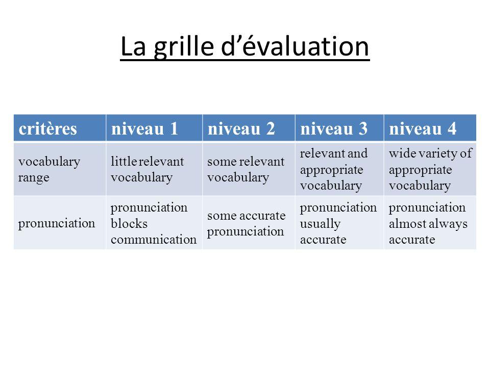 La grille d'évaluation