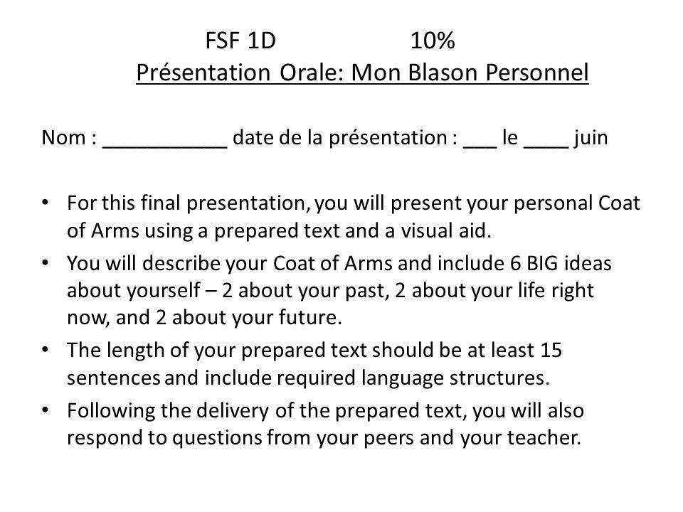 FSF 1D 10% Présentation Orale: Mon Blason Personnel