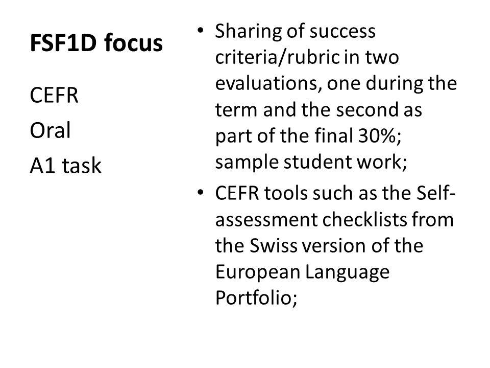 FSF1D focus CEFR Oral A1 task