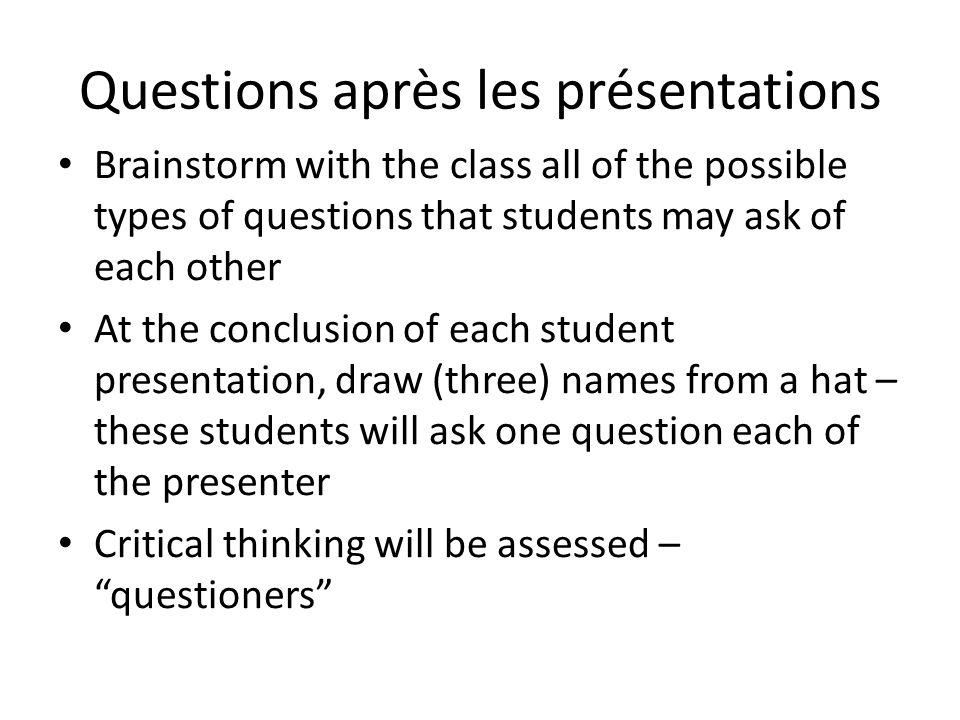 Questions après les présentations