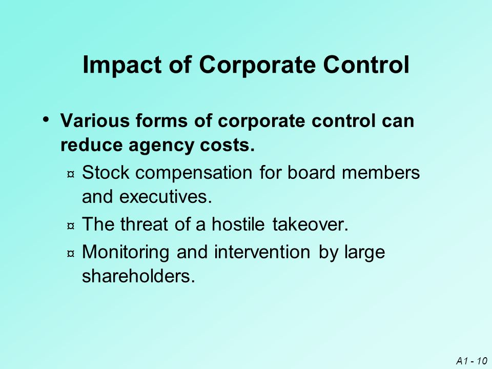 Impact of Corporate Control