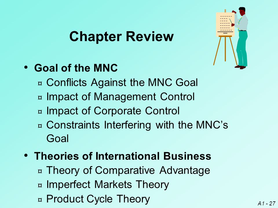 Chapter Review Goal of the MNC Conflicts Against the MNC Goal