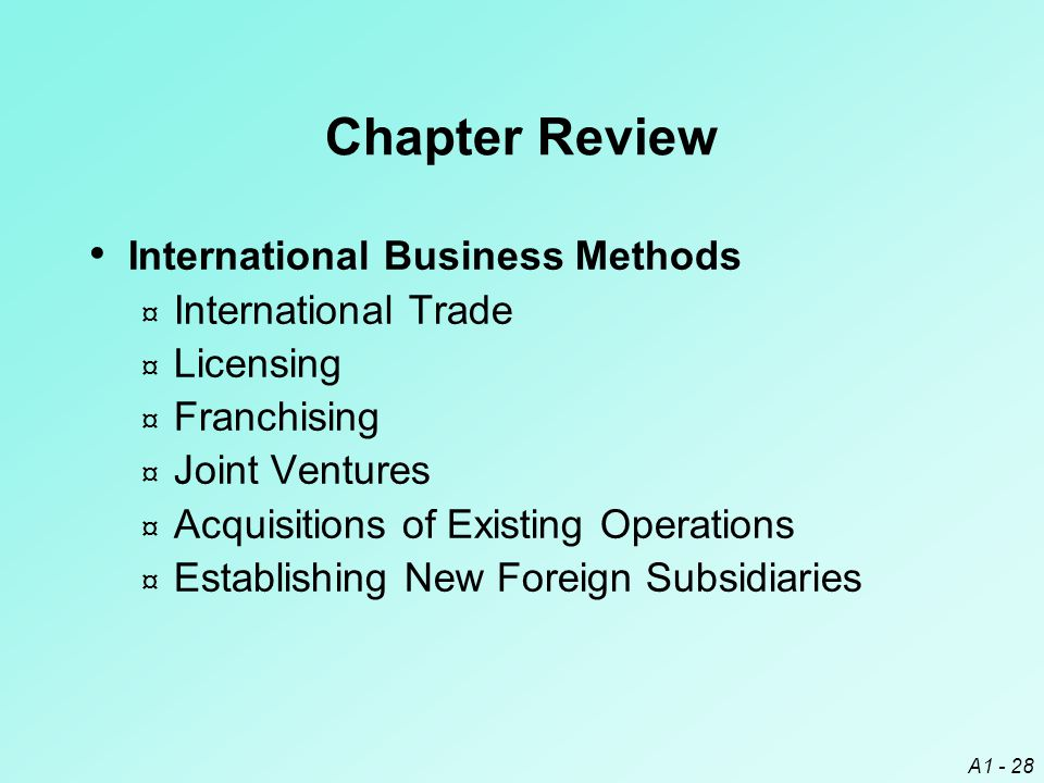 Chapter Review International Business Methods International Trade